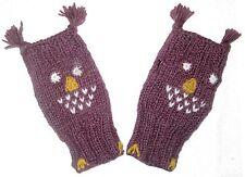 Owl Gloves: hand warmers purple bird women's girl unique geek knit winter