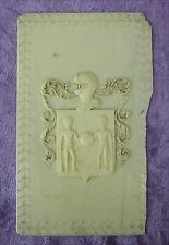 Antike Wappenplatte Bein handgeschnitzt um 1800