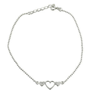 """Three Hearts Anklet - 925 Sterling Silver - Adjustable Ball Bead Chain 8"""" - 9"""""""