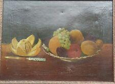 Scandinavian Still life Original Oil on Canvas Painting Fruit Plate & Knife