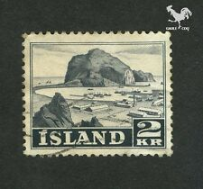 ICELANDIC POSTAGE - LANDSCAPE VESTMANAEY JAR HARBOR ISLAND 1950 2 KR STAMP