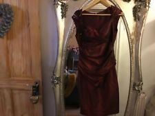 size 8 burgundy posh dress party xmas sleeveless Ruffle sequin new