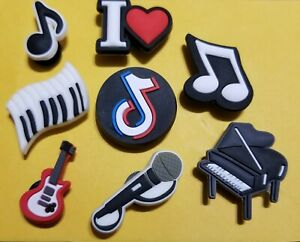 I Heart Music Shoe Charms 8PC Set! Guitar Piano+ For Crocs, Clogs, Crafts