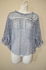 Sz 38/4 Isabel Marant Navy White Silk Sheer Short Sleeve Blouse