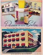 2 - TYLER Texas - c1940 POSTCARDS Parisian Salon & Nationwide Line