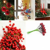 100X 10mm Mini Berry Manmade Red Holly Berries Home Bouquet Christmas Decor