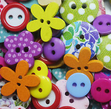 80 pcs wooden resin buttons random mix assorted scrapbooking, sewing, cardmaking