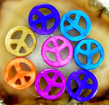25mm Mixed-Color Shell Gemstone Peace Filigree Spacer Loose Beads 8pcs