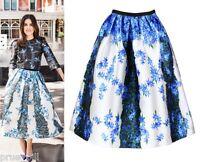 Flower Striped Satin Gazar Full Pleated Midi Skirt Sidewalk Vogue Elle Celebrity