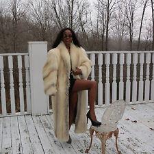 New Designer full length prime Golden Island shadow Fox Fur Coat Jacket S-M 4-10