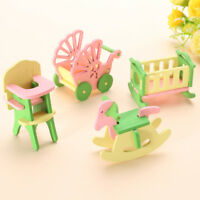1 Set Wooden Baby Nursery Room Furniture Dolls Miniature Kid Play Role Toys