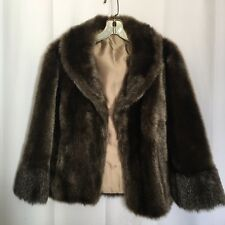 Regina Glenara by Glenoit Brown Winter Faux Fur Cape S  M L 6  8 10 12 Made USA