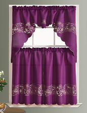 READY IN US. CUTWORK FLORAL. 3pcs CHAIN EMBROIDERY kitchen curtain set. PURPLE