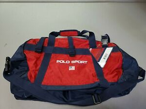 New Ralph Lauren Polo Sport Gym Duffle Bag Vintage Track Field Red Blue 20x11x12