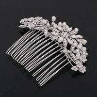 Flower Rhinestone Crystal Pearl Ladies Bridal Wedding Prom Hair comb Tiara