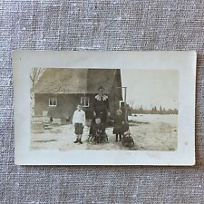Vintage Post Card Real Photo Farm Family Posted Sarona Wisconsin Swiss
