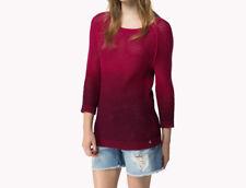 Tommy Hilfiger WOMEN'S Maglione Pullover-Due Toni Rosso Scuro S
