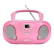 GROOV-E BOOMBOX PORTABLE CD PLAYER WITH RADIO AND HEADPHONE JACK - PINK