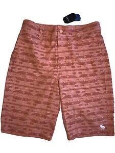 NWT Abercrombie Boys Lined Swim Board Shorts - Size 15-16 Button-fly, Adj Waist