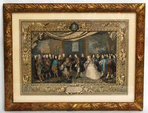 Antique Etienne Jeaurat French Etching - Charles le Brun Louis XIV & Philip IV