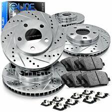 For Chevrolet Silverado 1500 Front Rear  Drill Slot Brake Rotors+Ceramic Pads