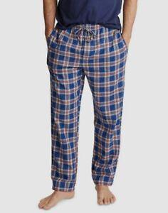 $92 Nautica Men's Blue Plaid Cotton Pajama PJ Flannel Pants Lounge Sleepwear S