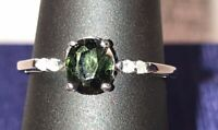 1.64CT NATURAL GREEN SAPPHIRE & DIAMOND COCKTAIL/ ENGAGEMENT RING 14K WHITE GOLD