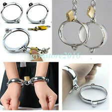 Steel Handcuffs Ankle Cuffs Lock Restraints Bondage Set Slave Roleplay Fun Toys