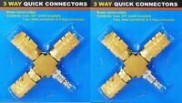 2 PACK 3 Way Air Hose Manifold Quick Coupler Connector Fitting Adapter Splitter