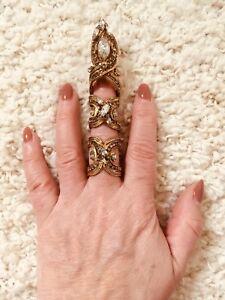 ERICKSON BEAMON Single Finger Talon Crystal Encrusted Ring