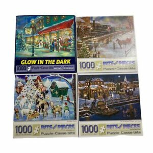 Lot 4 Bits And Pieces 1000 Pieces Christmas Puzzles