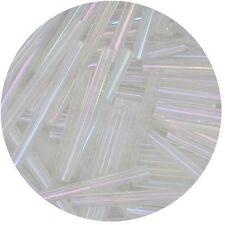 Czech Glass Bugle Beads 25mm ( 1 inch ) Crystal Iris Lust