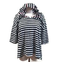 Women's Top Size XL Striped Hooded 3/4 High Low Short Sleeve Navy Blue White