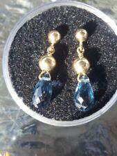 Blue Topaz Briolette Dangle Stud Earrings 14kt Solid Yellow Gold