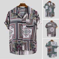 Mens Summer Ethnic Print Turn Down Collar Short Sleeve Loose Shirts Blouse Tops