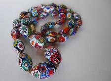 "Vintage Italian Murano Murrine Millefiori Hand Knotted 24"" Glass Bead Necklace"
