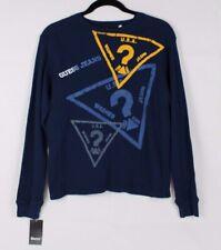 Guess Jeune Enfants Polo T-Shirt Coton Manches Longues Bleu TAILLE M 10-12