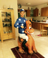 Men Horse Jockey Costume Women Inflatable Blow Up Suit Party Gift Cosplay Outfit