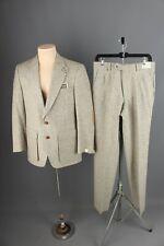 "Vtg Men's Nos 1970s Tweed Suit Jacket 38 Pants 30"" 70s Elbow Patches Leisure"