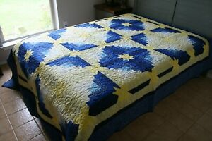 VINTAGE 60s-70s YELLOW STARS Homemade QUILT Excellent CONDITION Reversible
