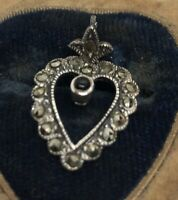 Vintage Sterling Silver Necklace 925 Pendant 925a Marcasite Heart