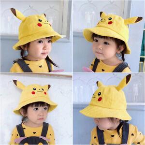 Pokemon Pikachu Hat Kids Bucket Toddler Preschool Corduroy Hat 3-7 Yrs