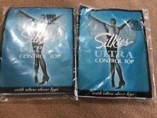 SILKIES ULTRA CONTROL NYLONS SHEER LEGS 2-or, Off White, White Medium