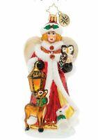 New Christopher Radko Snow Angel Guide Glass Christmas Ornament