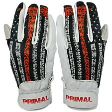 """Primal Baseball Adult """"USA Firefighter"""" Batting Gloves Size Small - Leather"""