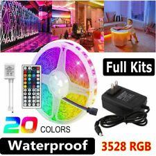5M 16.4ft 300 LED 3528 RGB SMD Flexible Strip Light 12V+Remote+Power Waterproof