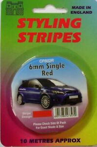 Red 6mm x 10mtr Self Adhesive Car Pin Stripe Coach Tape Syling Stripe