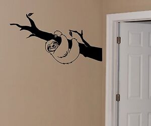 Sloth Wall Decal in a branch removable sticker art decor mural kids nursery teen
