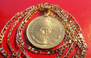 """GOLDEN SUN Coin Pendant on a 24""""  18k Gold Filled 3mm Premium Figaro Link Chain"""