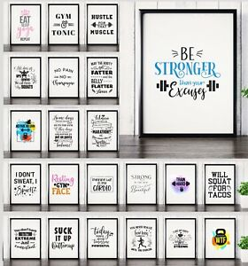 Motivational Gym & Fitness Posters Workout Prints Home Decor Wall Art Inspiring